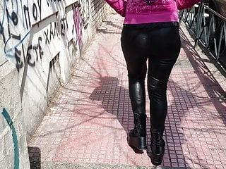 Greek milf in leather leggings 4