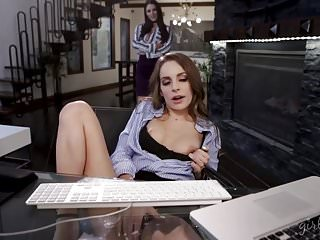 New intern caught on masturbation on her FIRST day!
