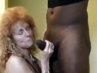 Curly Blonde Whore takes big black cock for pleasure