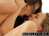 Sensual lesbian seduction with young blonde