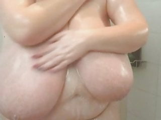 Mature shower boobs in huge close-up