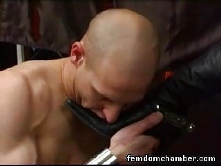 Male submissive gets kicked and worships boots