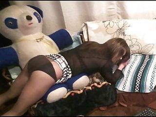 Crossdresser in sexy plaid short skirt humps...