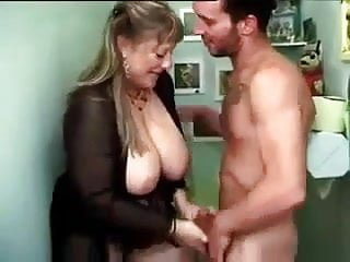 French mature with two men...