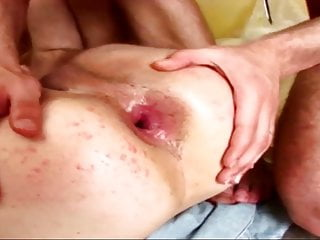 Teen is double teamed, dominated and barebacked by two hunks
