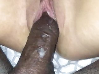 Slut wife takes bbc while playing with her hairy pussy