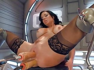 Insane MILF takes on sex machine - DP!