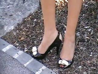 nice legs with peep toe heels on the walk