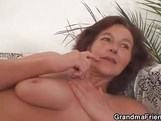 Old granny swallows two cocks...
