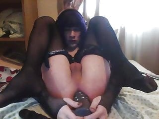 in Maggie ass her dildo huge a taking