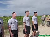 Military orgy hunks drilling ass outdoor