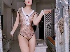 Chinese girl dance in revealing dress