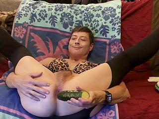 Fucks cucumber gaping...