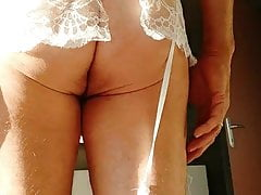 g string and stocking white 2