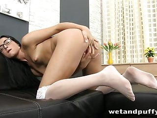 Teasing her smooth clit...