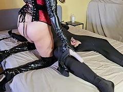 Cruel Femdom Mistress Pleasures Herself Using Her Sissy