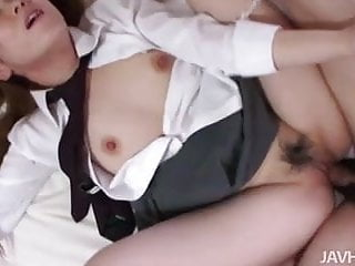 Cute schoogirl Ai on her knees sucking cock until her