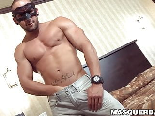 Hunky gay with a mask a fleshlight...
