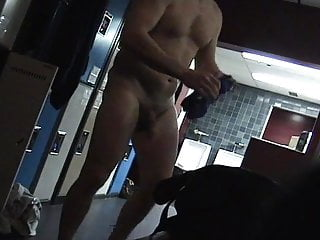 Hot man shows his cock in the gym locker room