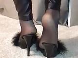 Nylon soles and wetlook leginggs