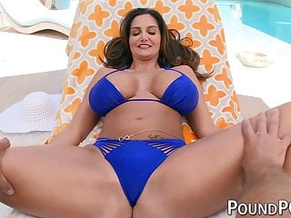 Busty horny milf stepmom Ava Addams rides large penis in point of view