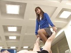 Japanese standing footjob