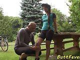 Beautiful eurobabe anally pounded outdoors