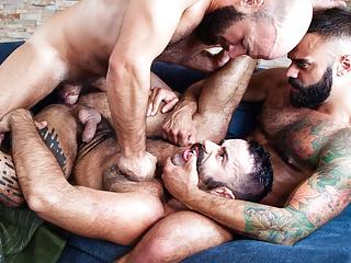 Sizzling hot beard city gay threesome...