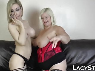 Chubby GILF fucked with large dildo by busty dyke babe