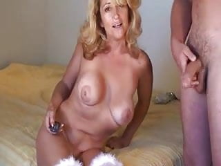 Mature blonde gets doggy fuck, facial