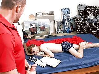 Sleeping son wakes up dad...
