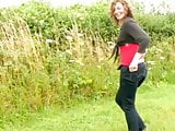 Hairy MILF Pissing In Field