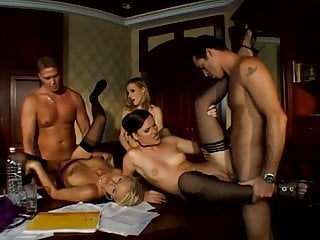 The Swinger Experience Presents Black Stockings Orgy Angel Dark, Jennifer Dark, Nikki Sun…