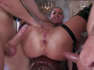 Guys take turns dipping their big cocks in Angela's asshole