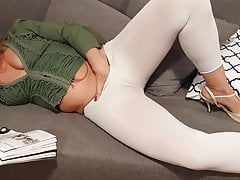 Watch lovely Martina West in white leggings