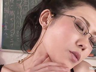 Horny japanese teacher fucks herself classroom...