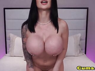Huge Tits Babe Plays with Her Dildos