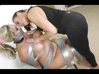 Big breasted fat slave getting dommed by femdom...