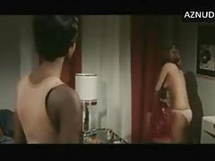 Spanish actress in 1975 movie in white panties topless