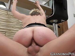 Grandma sucks and rides before eating hot jizz...