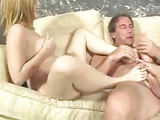 2Teen Babes Use Their Feet To Play With Old Cock