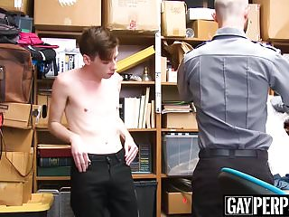 Security guard caught himself a perp to bareback...