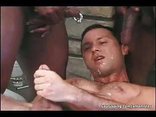 Taking three black dicks and hot sperm...