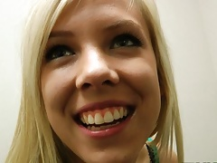 Busty young blonde teen gets fucked in mall dressing room, POV