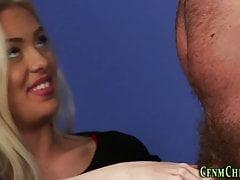 European babes stroking naked guy