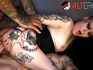 Mallory maneater takes on two dicks...