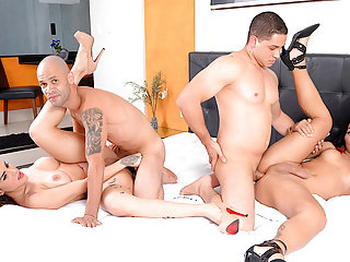 Wild foursome with thick ts melyna merli and...