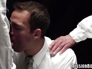 Mormon pastors mouthfuck with shy dude...