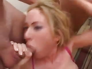 Gets gang banged with anal...