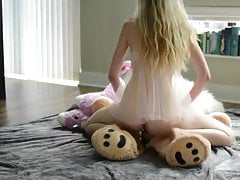 Teen blonde, hot solo and teddy bear!